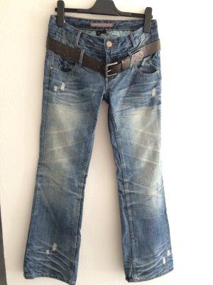 Colours of the World Jeans coupe-droite bleu pâle-bleu coton