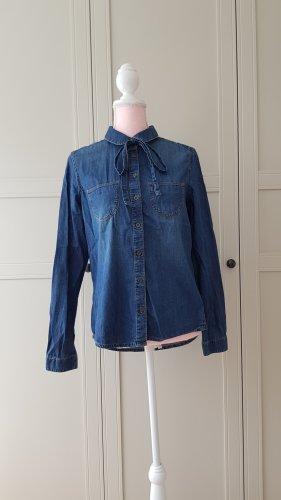 jeans Denim bluse mit Schleife