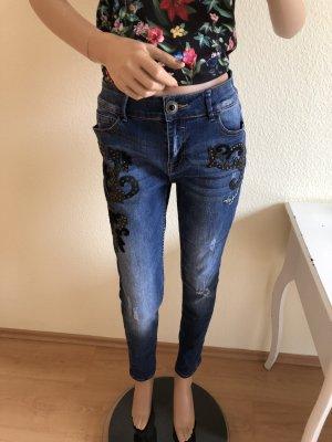 Desigual Jeans a vita alta blu-nero