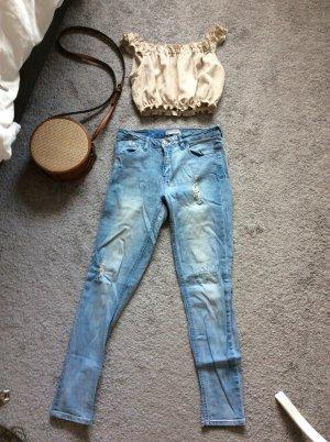Pull & Bear pantalón de cintura baja azul claro-azul