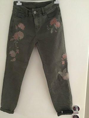 Pantalón de cinco bolsillos caqui-rosa Algodón