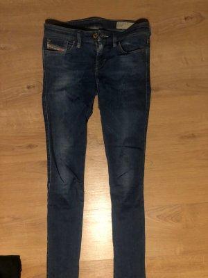 Diesel Pantalon taille basse bleu foncé