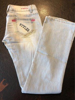Boot Cut Jeans light blue-pink