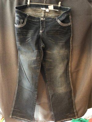 Rainbow Jeans svasati blu scuro-bianco