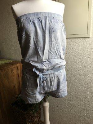 Pantalón corto tipo peto azul celeste Algodón