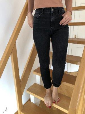 Zara Jeansy z wysokim stanem czarny
