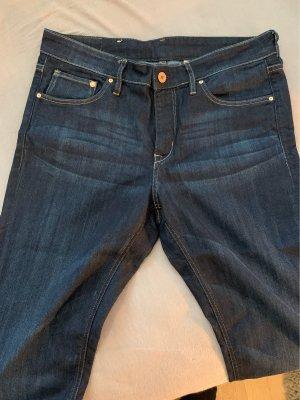 H&M pantalón de cintura baja azul oscuro