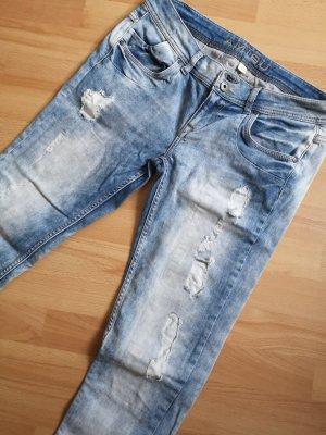Amisu Jeans boyfriend bleu clair