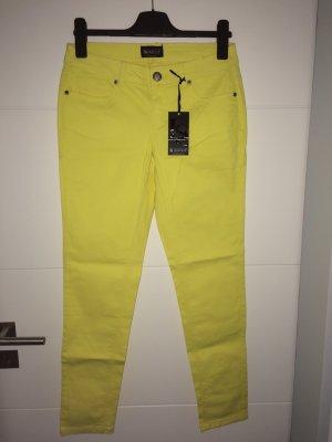 Laura Scott Drainpipe Trousers yellow cotton