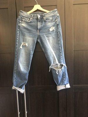 H&M DENIM 7/8-jeans korenblauw-staalblauw Katoen
