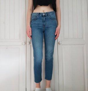 Mango Pantalon taille haute bleu