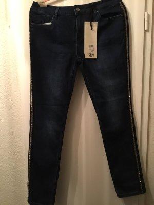 Zabaione Jeans elasticizzati blu scuro-argento