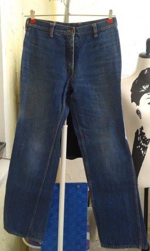 Jeansowe spodnie dzwony niebieski neonowy