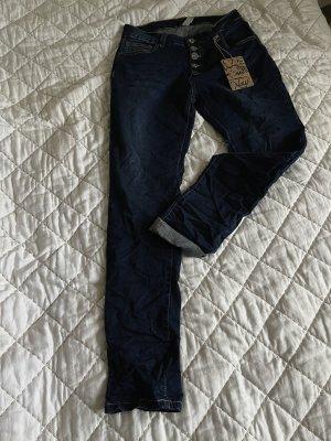 Jeans stretch argenté-bleu foncé