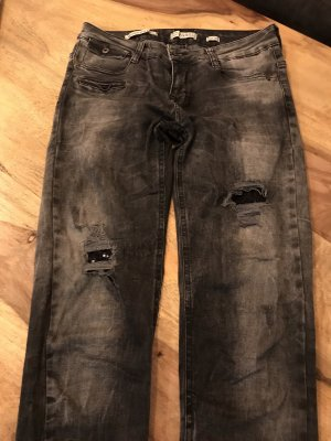 Jeans grau mit Pailletten Applikationen
