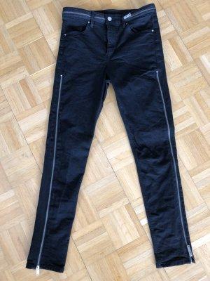 Jeans H&M Divided seitliche Reißverschlüsse schwarz 38