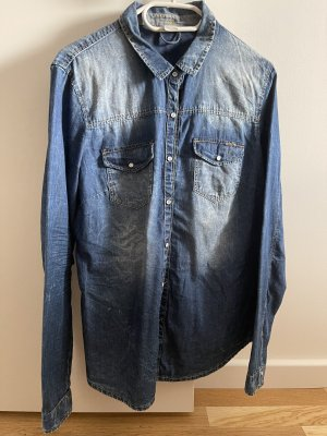 Bershka Denim Shirt cornflower blue