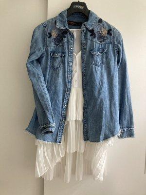 Jeans Hemd Blumenmuster |XS/S