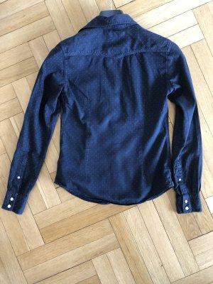 Jeans Hemd Bluse von GANT in 34 XS dunkelblau mit Punkten