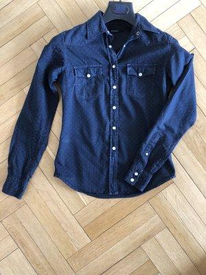 Jeans Hemd Bluse von GANT  In dunkelblau mit Punkten 34 XS