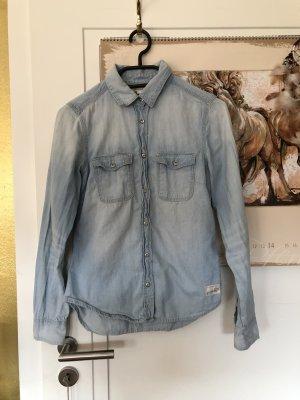 H&M L.O.G.G. Denim Shirt azure cotton