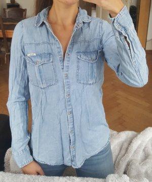 Pull & Bear Chemise en jean marron clair-bleu azur