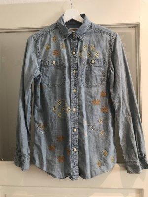 Jeans Hemd mit Inka Stickereien