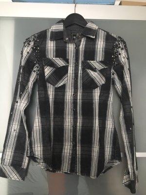 Jeansowa koszula czarny-biały
