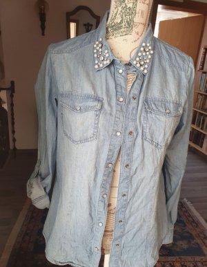 Only Jeansowa koszula błękitny-stalowy niebieski