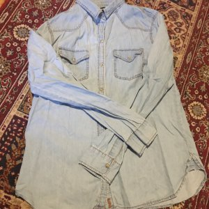 Zara Basic Denim Shirt pale blue