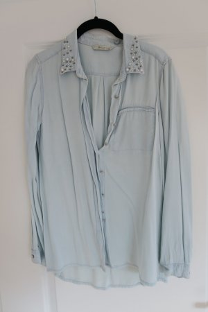 Jeans Hemdbluse mit Perlenstickerei am Kragen Gr. 38 MANGO