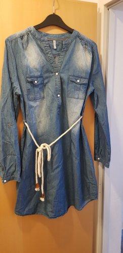 Jeans Hemdblusenkleid mit Strickgürtel
