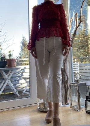 H&M Jeans taille haute crème-blanc