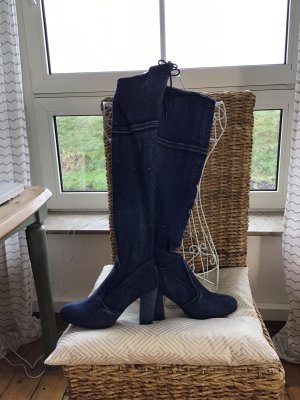 High Heel Boots steel blue cotton