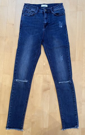 24 colours Hoge taille jeans donkerblauw