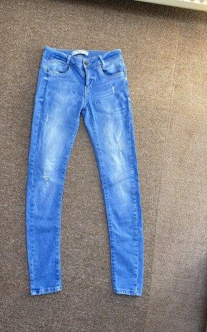 Zara Pantalon taille haute bleu fluo