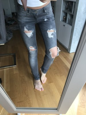 Jeans Hose, 34 (27/32), grau, used / destroyed Look, Only