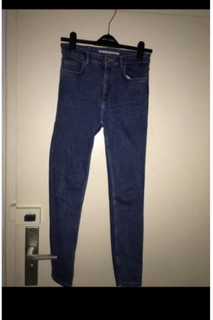 Zara Pantalon taille haute bleu acier