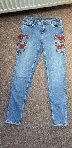 Zara High Waist Trousers blue-red