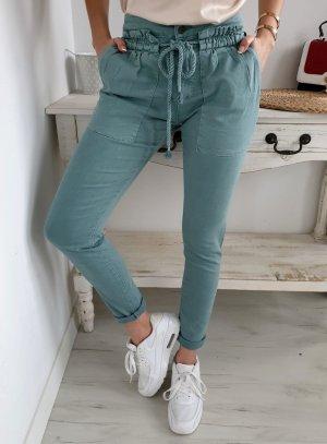 Jeans a vita alta turchese