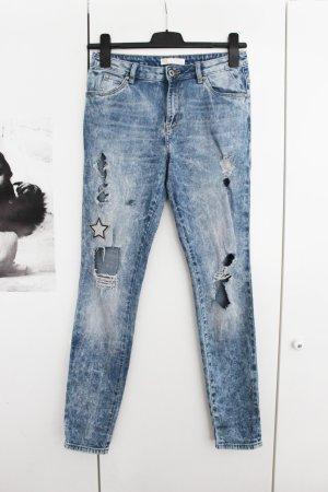 Jeans Hose Blau Denim Destroyed Ripped Slim Röhre