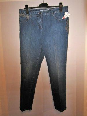 Jeans Hose blau Stickereiborte Gr. 42 ungetragen
