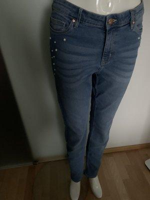 Jeans Hose High Waist Gr 42 XL von Esmara mit Perlen