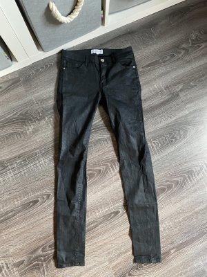 Jeans Hose Mango Röhrenhose beschichtet Schlangenmuster schlangenoptik snake schwarz Lederhose