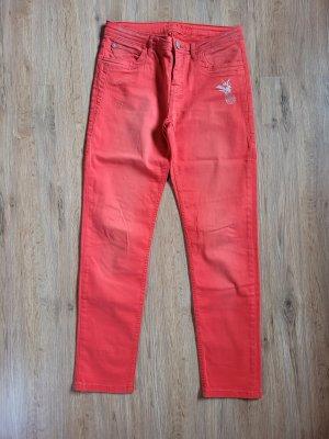 Jeans Hose rot Glitzer Blue Fire