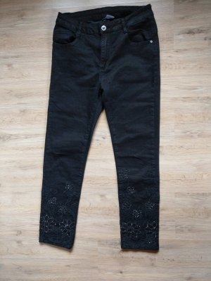 Jeans Hose schwarz Steinchen Mozzaar
