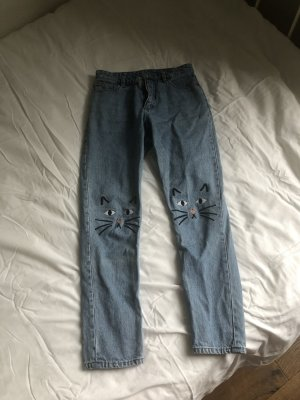 Jeans Hose von Monki Katze Mom blau