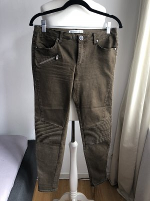 Jeans im Bikerlook | Olivgrün