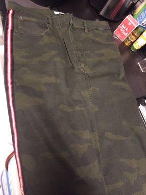 Zara Women Spodnie z pięcioma kieszeniami ciemnozielony