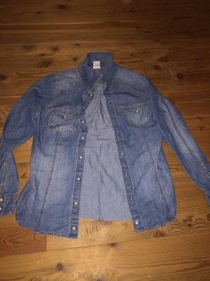 H&M Jeansowa koszula szary niebieski-jasnoniebieski